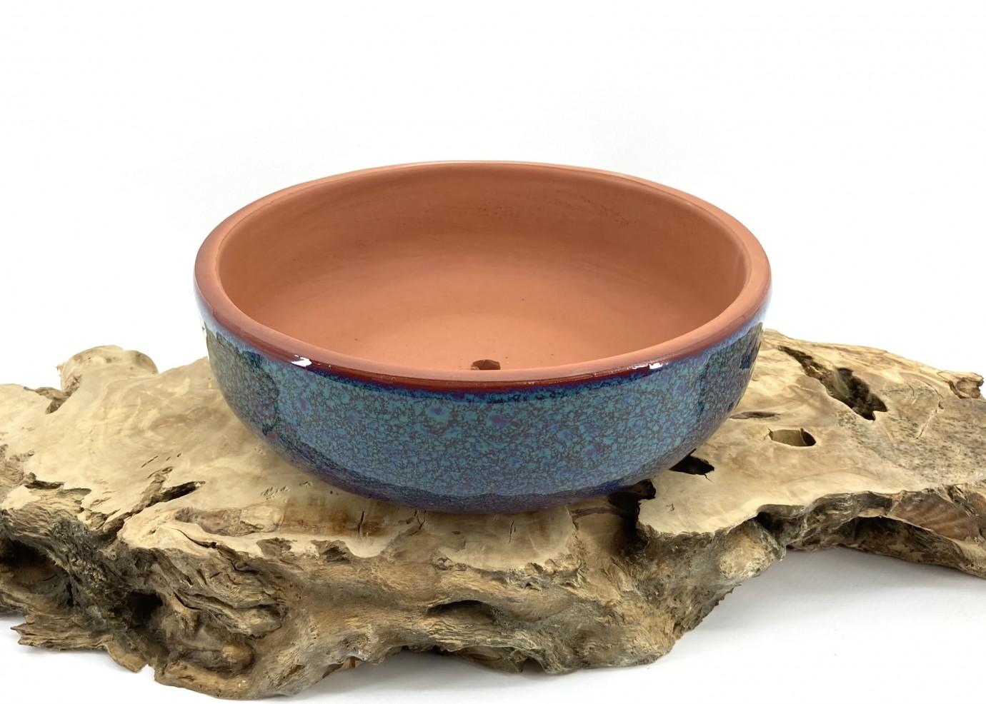 Mavi Çift Sırlı Bonsai Saksısı 22X8-Baskı Bonsai Saksısı