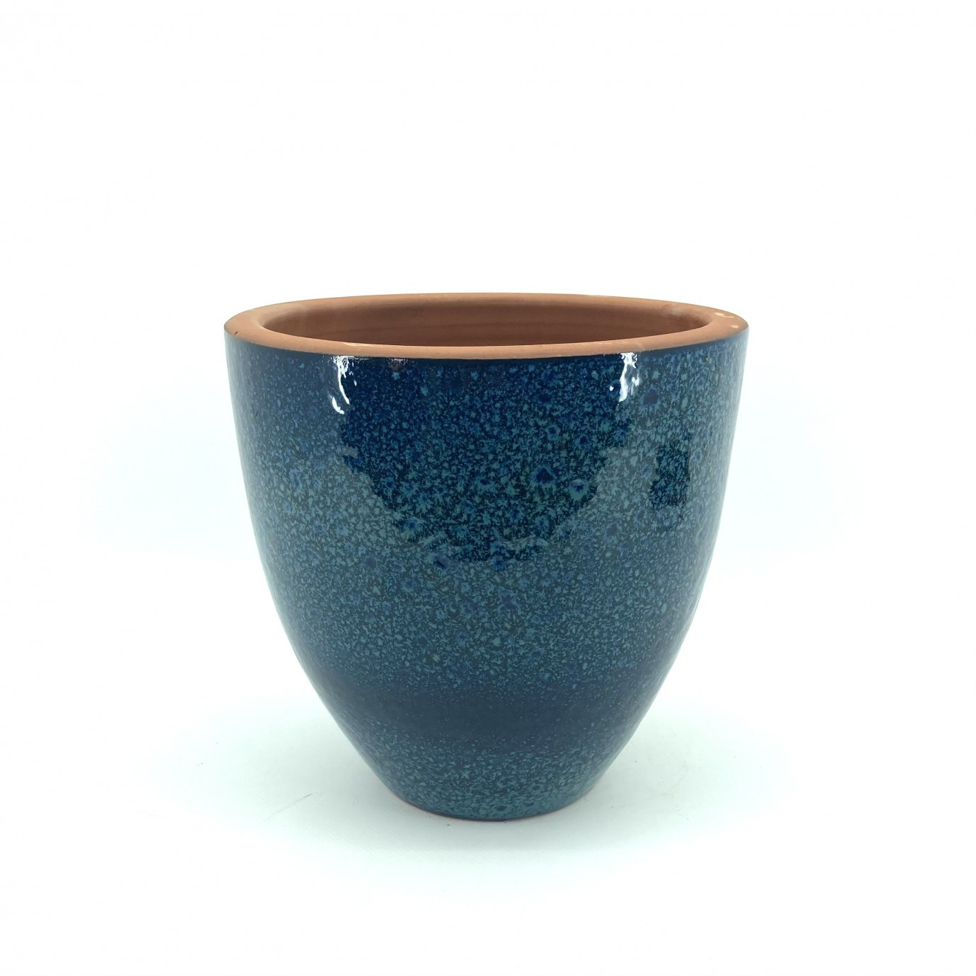 Mavi Çift Sırlı Toprak Saksı 18X18-Solino