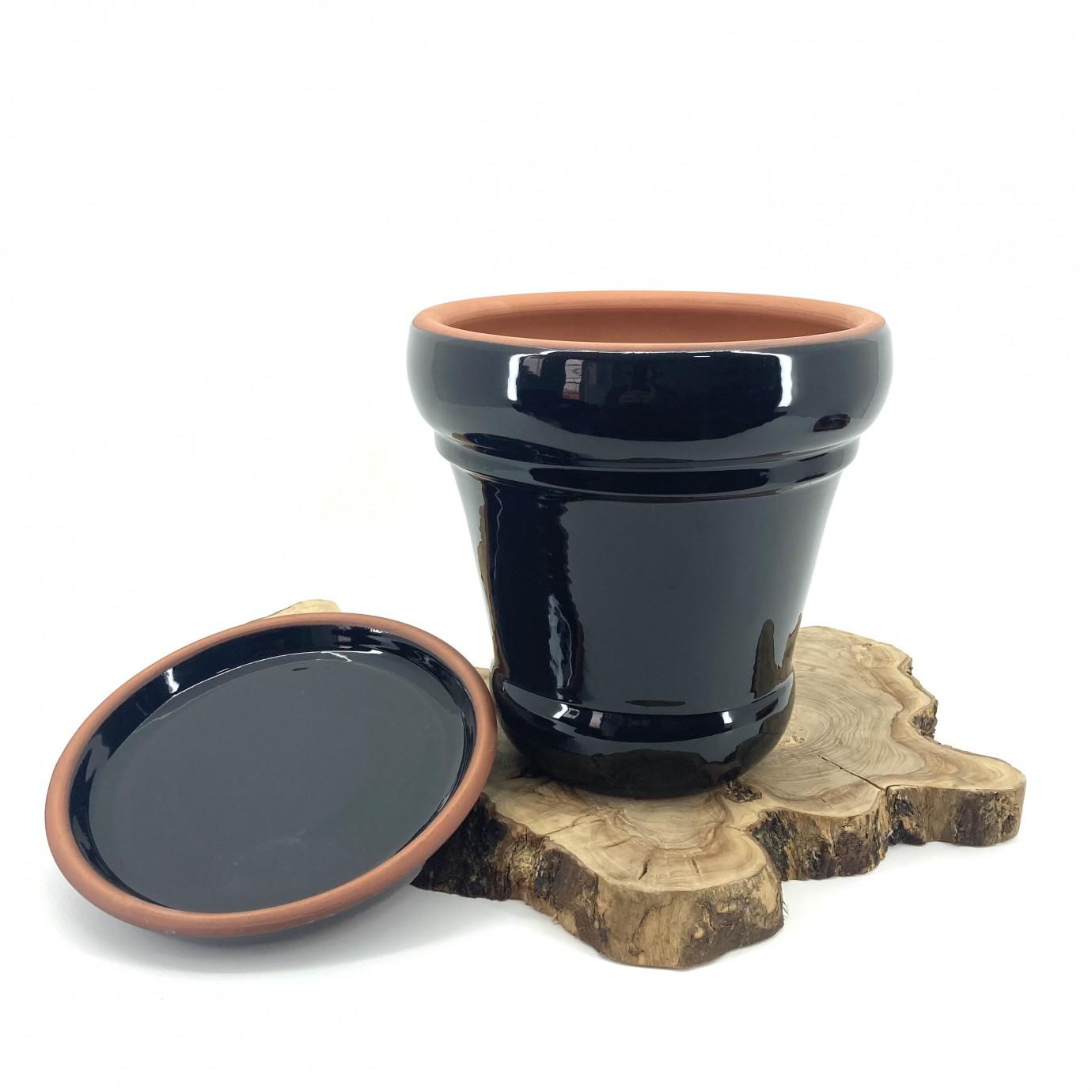 Siyah Sırlı Toprak Saksı 32X30-İtalyan
