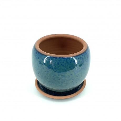 Mavi Çift Sırlı Toprak Saksı 16X16-Küre