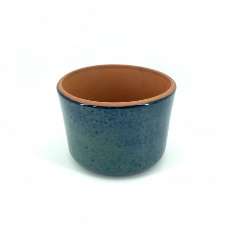 Mavi Çift Sırlı Toprak Saksı 20X14-Rulo