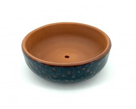 Mavi Damla Çift Sırlı Bonsai Saksısı 22X8-Baskı Bonsai Saksısı